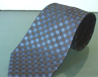 Faconnable Made in France Silk Tie Powder Blue & Taupe