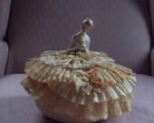 Vintage PIN CUSHION DOLL - Porcelain & Lace