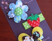 Flower, strawberry & butterfly - Baby snap clips