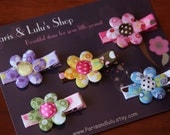 Cotton flowers -Lavender, yellow, pink, brown, blue and green - Alligator clips (5 pack)