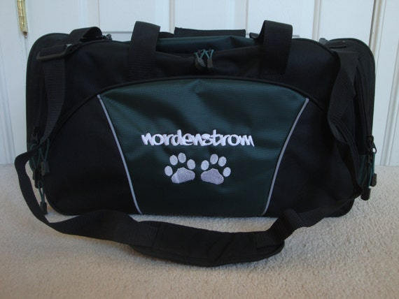 duffel bag personalized dog paw prints vet by htscreations on etsy