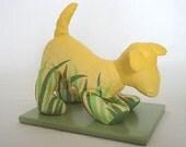 Handpainted Soft Dog Sculpture