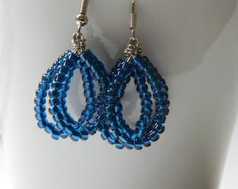 Blue Layered Loop Earrings