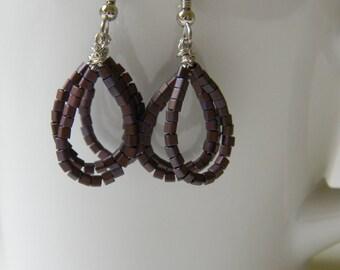 Bronze/Maroon Layered Loop Earrings