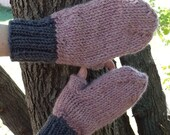 """mittens, knit pink and grey """"texting mittens"""", thumbless mittens, knit thumbless gloves, knit colorblock mittens"""