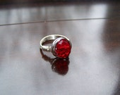 July Ruby Red Wire Wrapped Ring