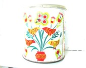Vintage Tin with Roosters, Birds and Flowers