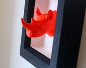 NEON ORANGE RHINO head animal mount for your wall