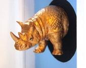 LARGE GOLDEN RHINO head animal mount for your wall