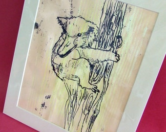 KINGSLY the KOALA-DUCK ooak original monoprint in mount frame