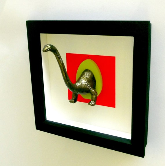 3d NEON and dark gold DINOSAUR animal trophy art framed mount for your wall