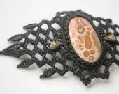 Leopard Stone  Macrame Bracelet-Meditation Stone--Pulsera de Macrame con Leopardino--OOAK Handmade Bracelet