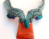 Reserved for Yuko--Macrame Necklace/ Orange Shell /Turquoise Gemstone Beads/ sea foam, olive, turquoise, purple-Boho necklace