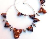 """Macrame Hoop Earrings-Boho earrings-boho chic jewelry-spiny oyster shell-OOAK hoop earrings-gypsy jewelry-lavender, orange, purple-""""INDIA"""""""