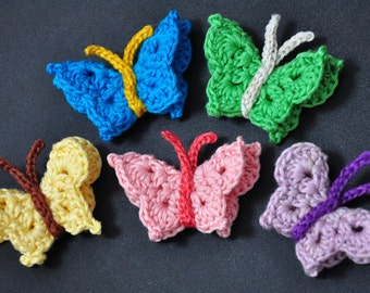Custom Made in YOUR Colour Choice:  3-D Crochet Butterfly (5 pieces) in DMC 6-stranded embroidery cotton floss -- Great for embellishing
