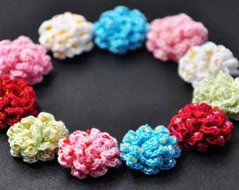 Made to Order Cotton Thread Crochet Flowers with Coloured Beads