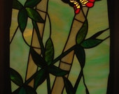 Stained Glass Oriental Bamboo & Butterfly.