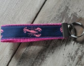 Ribbon Key Fob Navy Blue and Pink Lobster