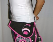 CROSS BODY BAG -medium- Sling tote  haversack /travel purse/ iPad case cover mixed fabrics  -spotted- in Black-White-Pink  with Circles