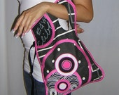 CROSS BODY BAG Medium Sling tote  2in1 haversack Travel Purse case cover mixed fabrics  -spotted- in Black White Neon pink  with Circles