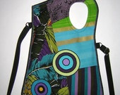 2in1 MEDIUM BAG Body Bag sling tote Haversack  travel purse mixed fabrics in Black-Turquoise-Purple  with Circles
