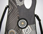 MEDIUM CANVAS BAG sling pack cross body tote purse /hip bag/ shoulder mixed fabrics in  Gray-White-Black  with Circles