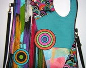 Large Canvas Bag  -sling bag -Cross Body Bag tote /haversack shoulder mixed fabric  Black-Colorful-Rainbow   with Circles