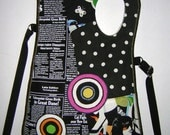 MEDIUM CANVAS BAG -utility hip bag-  iPad Travel Bag mixed fabrics in Black-White  with Circles