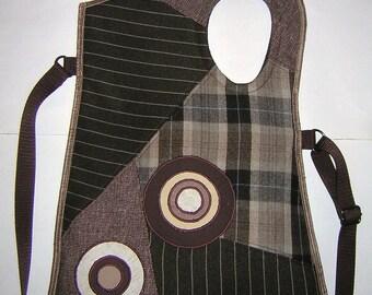 Medium Sling Bag crossbody bag Hipster Haversack cute asymmetrical purse Fabrics Mix in brown beige with Circles