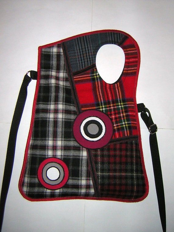 2in1 Haversack MEDIUM FABRIC BAG sling bag travel tote mixed fabrics checkered  in Black-Red-Gray  with Circles