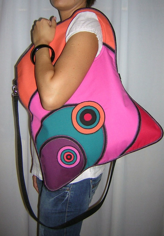 Large Canvas Bag  /Diaper bag/  gym pack tote Funny Messenger Bag   colorful, mixed fabrics  Rainbow  with Circles