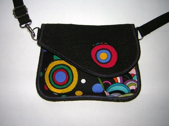 SMALL BELT BAG  mini hip bag -bike bicycle tote-  little sling purse mixed fabrics in Black-Colorful-Rainbow  with circles