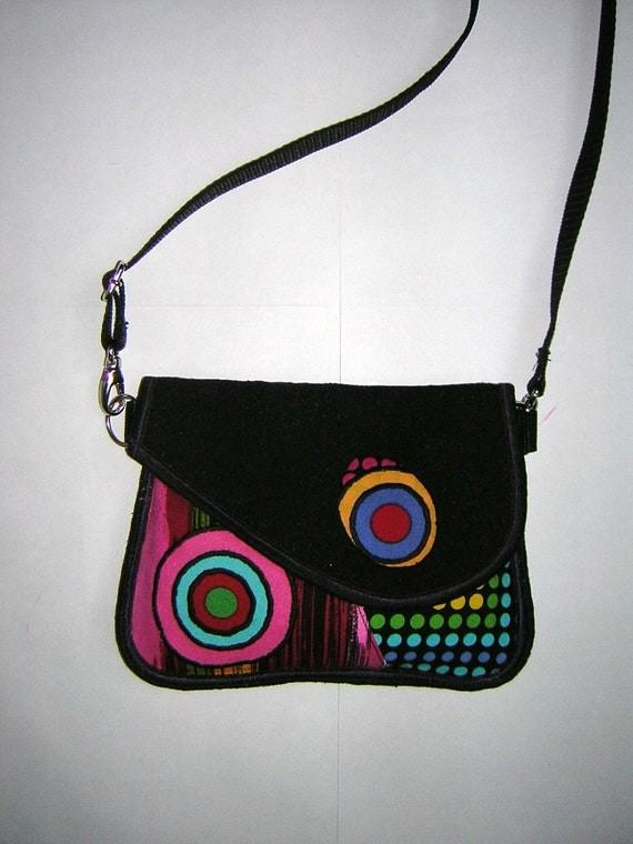 SMALL BELT BAG mini hip bag -bike bicycle tote- little sling purse /festival wallet/ mixed fabrics Black-Rainbow with circles