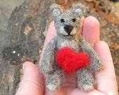 Teddy Little Bear Love Love Love-  Needle Felted Ornaments teddy bear