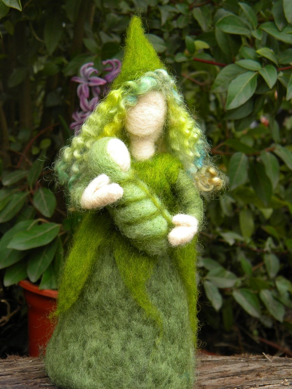 Mother NatureFairy Pixie Flower - Needle Felt Doll Gnome