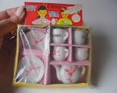 Vintage Porcelain Miniature Tea Set, In Original Package, Made in Japan