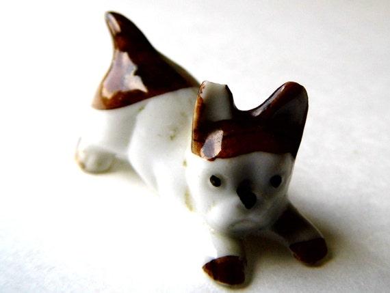 Vintage Knick Knack Puppy Dog Animal, Porcelain, Miniature Figurine for Knick Knacks Shelf, from All Vintage Knick Knacks