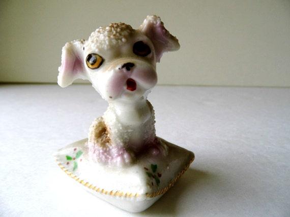 Vintage Knickknack Made In Japan Puppy Dog on a Pillow, Porcelain, Miniature Figurine for Knick Knack Shelf