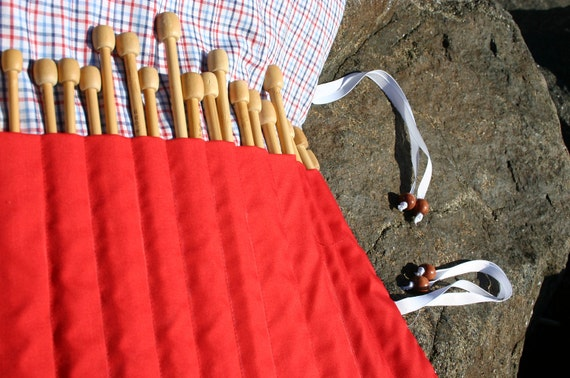 Plaid Rollup Knitting Needle Case
