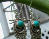 Tribal Turquoise and Sterling Earrings - Free Shipping USA