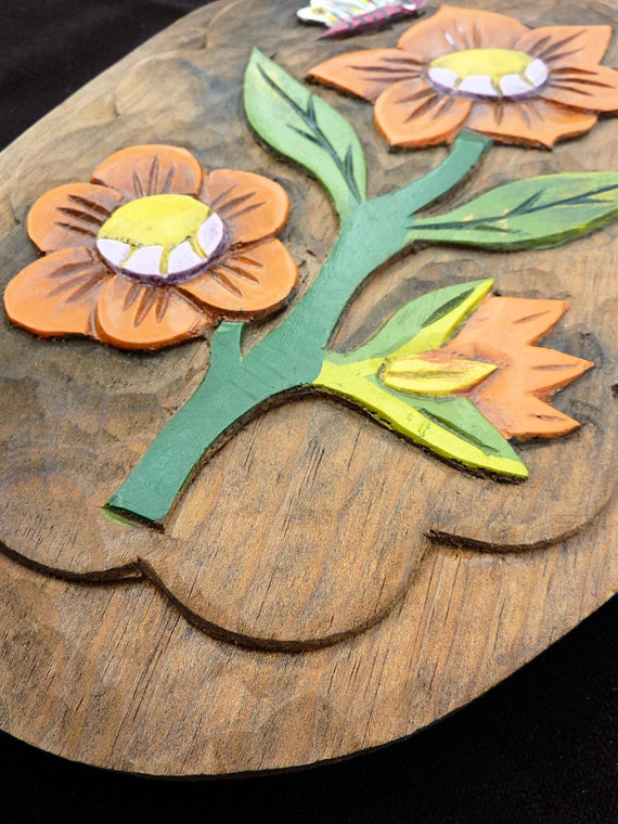 Vintage Wooden Flower Wall Plaque, Wooden Relief, Hand Carved and Painted