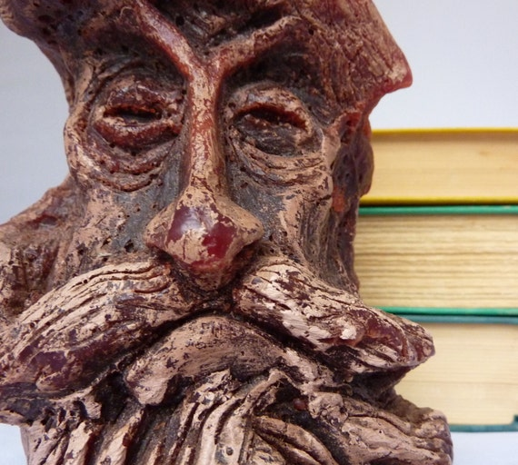 Vintage Hand Carved Candle, Old Man in Tree