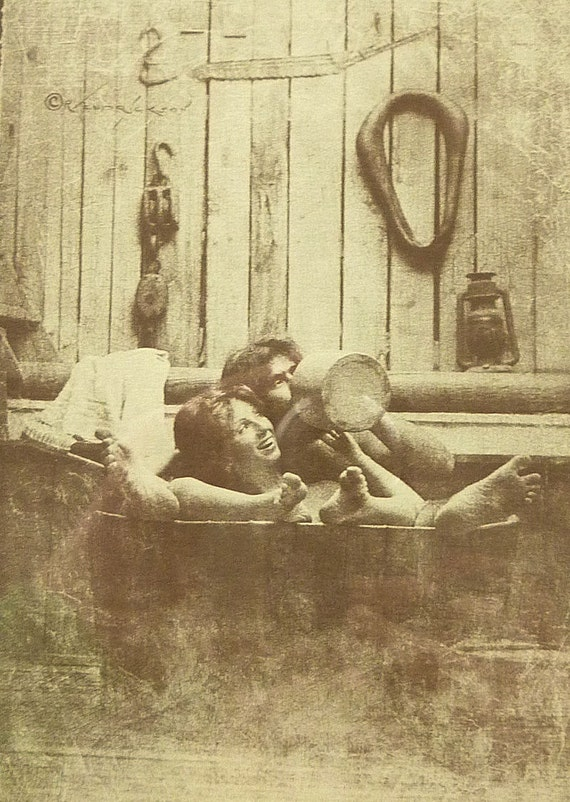 R Hendrickson Sepia Print Couple In Tub