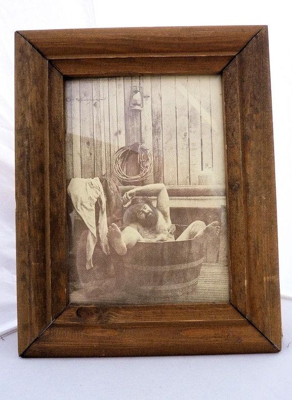 R Hendrickson Sepia Print Man In Tub