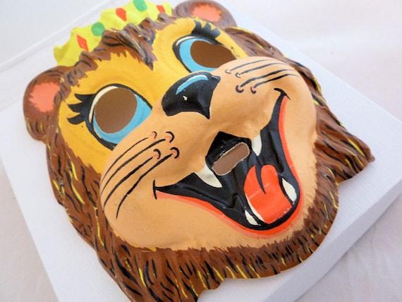 Halloween Mask, Lion with Crown, Vintage Ben Cooper Costume Mask
