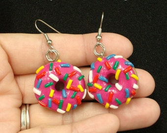 Strawberry Glazed Donut Earrings With Sprinkles