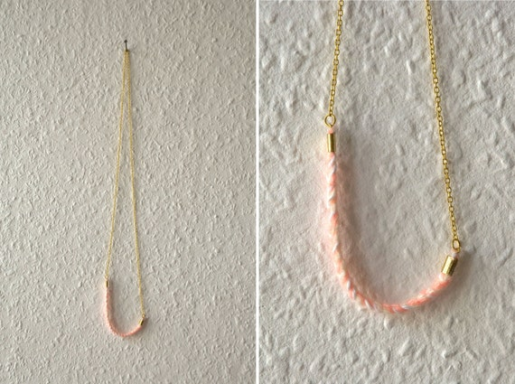 Necklace - white / peach wool - string