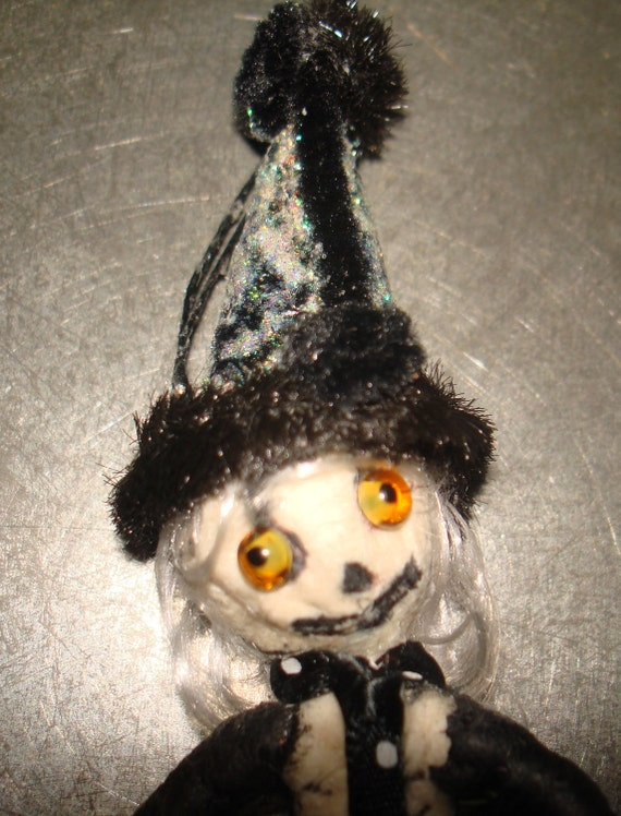RESERVED for Stephanie  Spun cotton Skeleton Halloween Feather tree Ornament OOAK in vintage craft