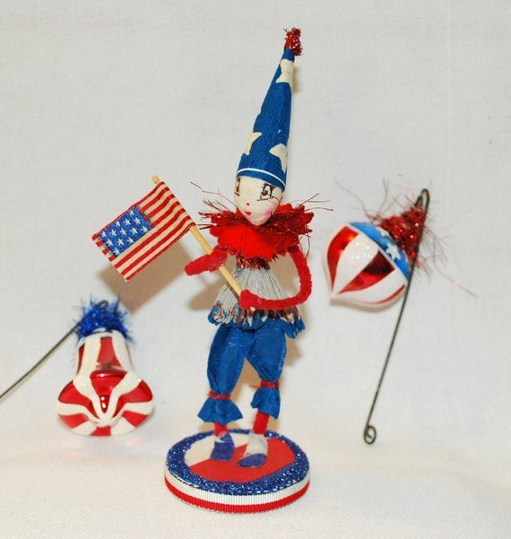 Spun cotton patriotic boy figure JejeMae vintage craft The little flag bearer OOAK