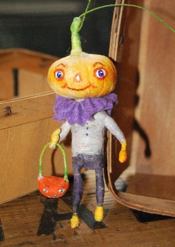 RESERVED for Stephanie Spun cotton pumpkin head boy ornament OOAK vintage craft by jejemae